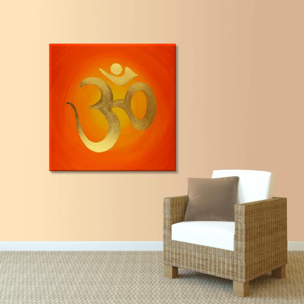Wandbild OM Zeichen vergoldet
